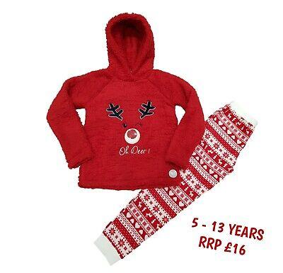 Boys Girls Kids Christmas Xmas PJs Pyjamas Loungewear Jumper Outfit Warm Gift