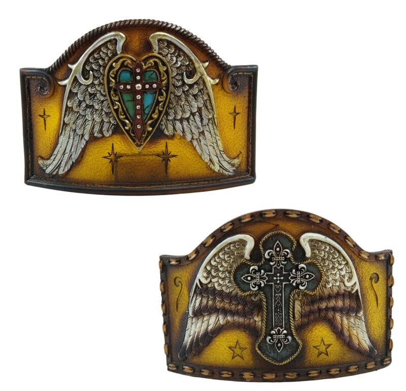 Western Angel Wings Le Fleur Cross Turquoise Heart Wall Plug In Night Lights Set