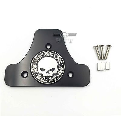 Skull CNC Sissy Bar Pad Mount Kit For 97-17 Harley Road King Street Glide Black