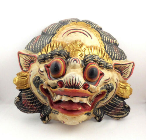 VTG Balinese Barong Mask Carved Wood - Colorful Ceremonial Lion Beast