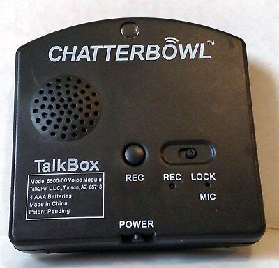 Chatterbowl TalkBox Motion Activated Audio Player, Black ~ NEW