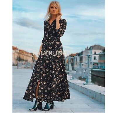 NWT ZARA  LONG FLORAL PRINT DRESS BLACK SHIRT DERSS 3198//240 /_S,M,L,XL