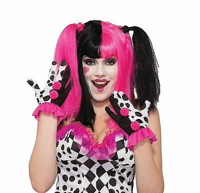 Harlekin Clown Rüschen Handschuhe, Party Kostüm (Rüschen Party Clown Kostüm)