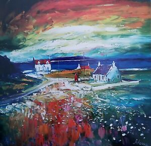 Jolomo - John Lowrie Morrison Art print Phone Box Isle of Barra Airport Scotland