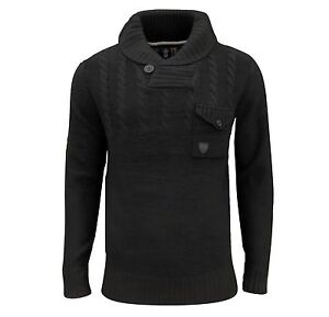 Soul-Star-Hombre-Chatsworth-Chal-Cuello-Cable-Jersey-gris