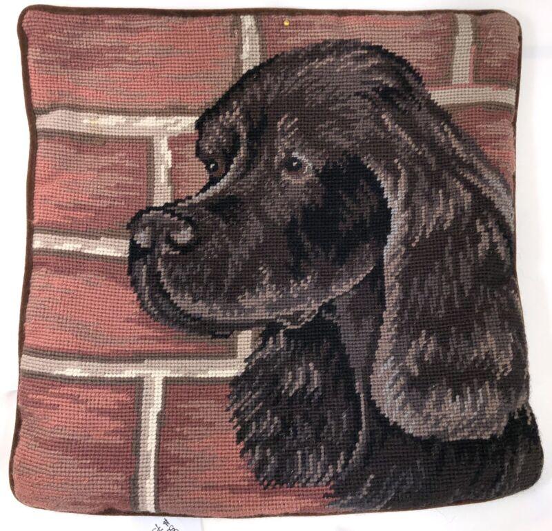"""Gordon Setter Dog Portrait Needlepoint Pillow Cover 13"""" Velveteen Back w/Zipper"""