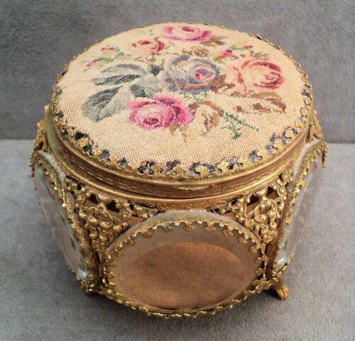 Vtg Ormolu JEWELRY Trinket CASKET BOX Needlework Roses BEVELED Glass Hinged Lid