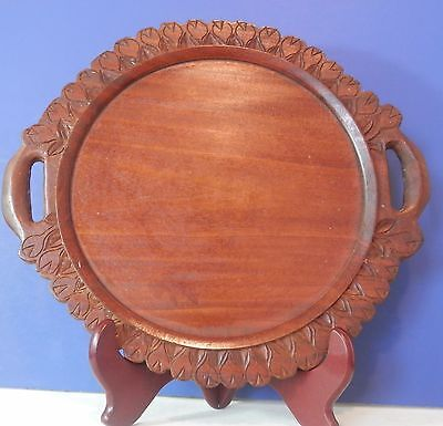 Vintage Antique Wood Carved Serving Cake Pie Plate Tray Folk Primitive 12