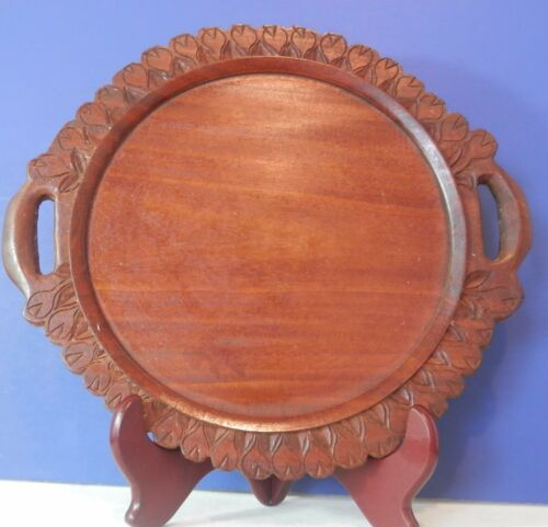 Vintage Antique Wood Carved Serving Cake Pie Plate Tray Folk Primitive 12""