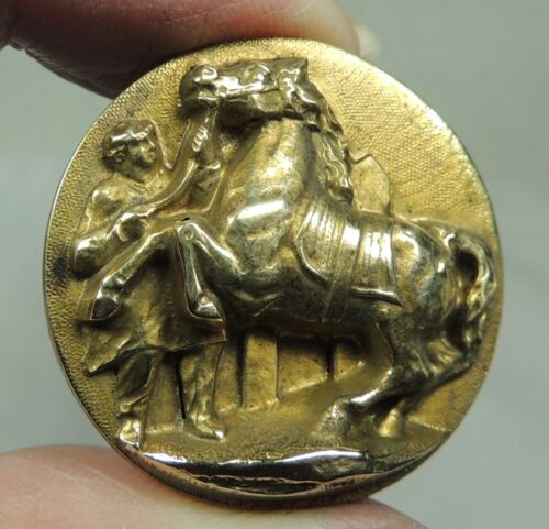 ANTIQUE BRASS PICTURE BUTTON ~ MORGAN PRIZE WINNING HORSE SHOW & GROOM