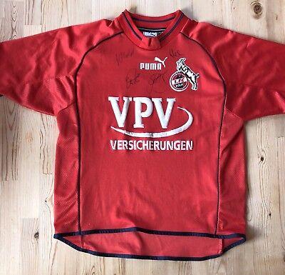 Original 1. FC Köln Puma Größe XS 2001/2002 rot red handsigniert mit autogramm