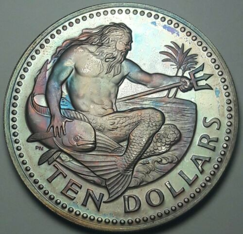 1975-FM BARBADOS 10 TEN DOLLARS SILVER PROOF BEAUTIFUL GEM COLOR UNC TONED (DR)
