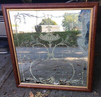 Large 19th Century Acid Etched Venetian Mirror - Custom Reframing