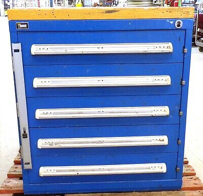 Stanley Vidmar Tool Cabinet 61638946w 5 Drawer 30 X 27 34 X 33 Wooden Top