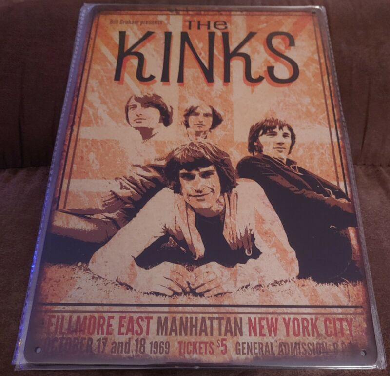 The Kinks Rock Band Poster Style Wall Sign New