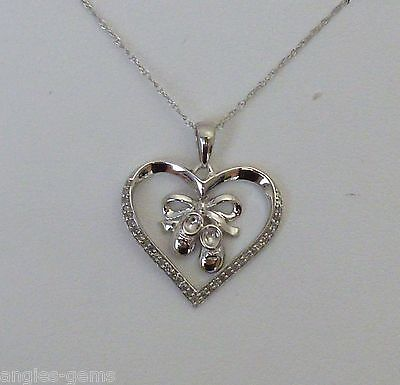 Baby Shoes Heart Necklace - NEW Diamond Baby Shoe Heart Dangling Pendant Necklace 10K White Gold- 18