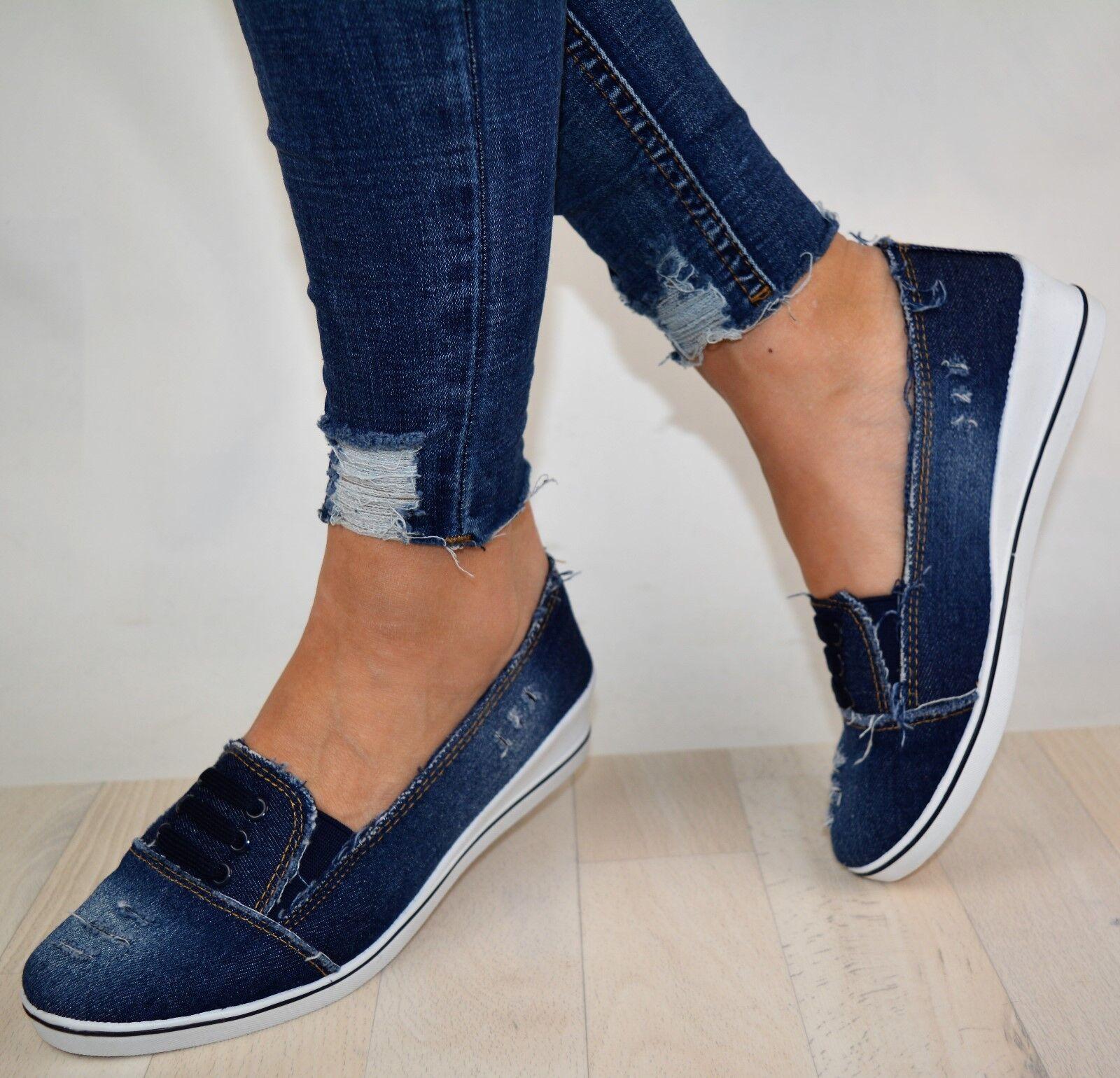 Damen Schuhe Sneaker Jeans Blau Sportschuhe Ballerina Freizeitschuhe Keilabsatz