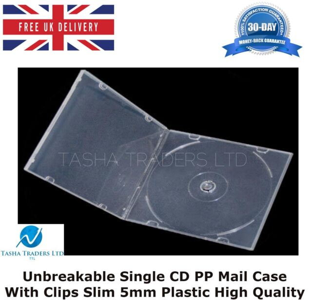 5 Unbreakable Single CD PP Mail Case with Clips Slim 5mm Plastic High Quality