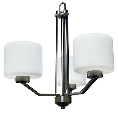 Contemporary Brushed Nickel 3 Light Chandelier White Frosted Glass
