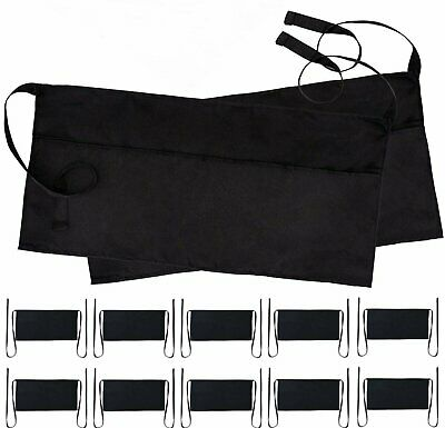 Wealuxe Professional Waitress Waist Aprons With 3 Pockets Black 12 Pack