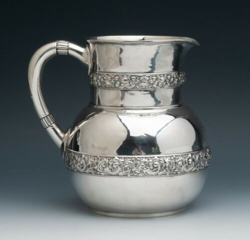 "Vintage Tiffany & Co. Sterling Silver Water Jug 7.5"" tall, old marks"
