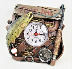 Clock table top Fishing Time Sport and Home Decor
