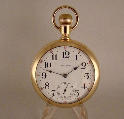 117 YEARS OLD WALTHAM VANGUARD 23j 14k GOLD FILLED OPEN FACE 18s RR POCKET WATCH