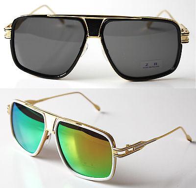 Oversized Large Square Aviator Metal Bar Men Grand Designer Sunglasses Eyewear