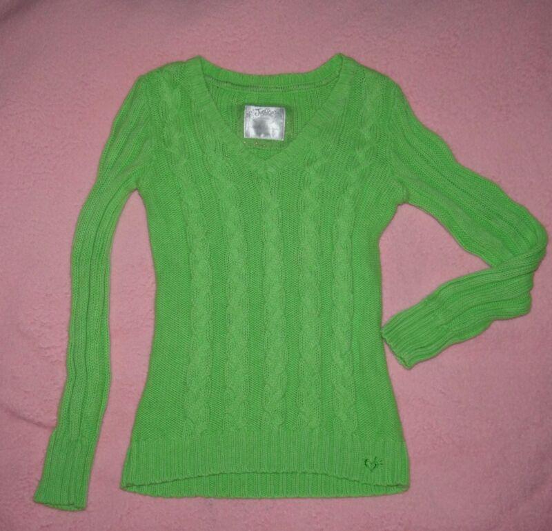 Justice Girls Sz 12 Avocado Green V-neck sweater, EUC
