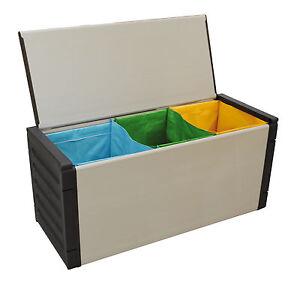 cassapanca con 3 borse per la raccolta differenziata