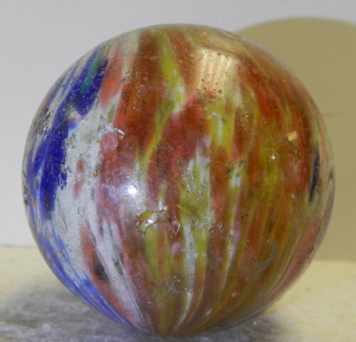 #13073m Huge 1.91 Inches Cased German Handmade Onionskin Marble Vintage