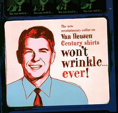 ANDY WARHOL BOOK PRINT RONALD REAGAN IN AD FOR VAN HEUSEN WRINKLE-FREE SHIRTS