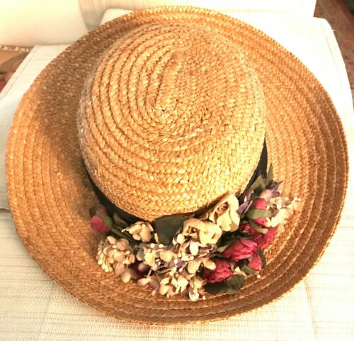 VINTAGE STRAW HAT BY DARCY CREECH, SOUTHPORT, CT. -SUMMER CHIC