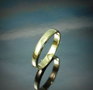 New-9ct-Yellow-Gold-3mm-Wedding-Band-Ring-D-Shape-Jewellery-Various-Size