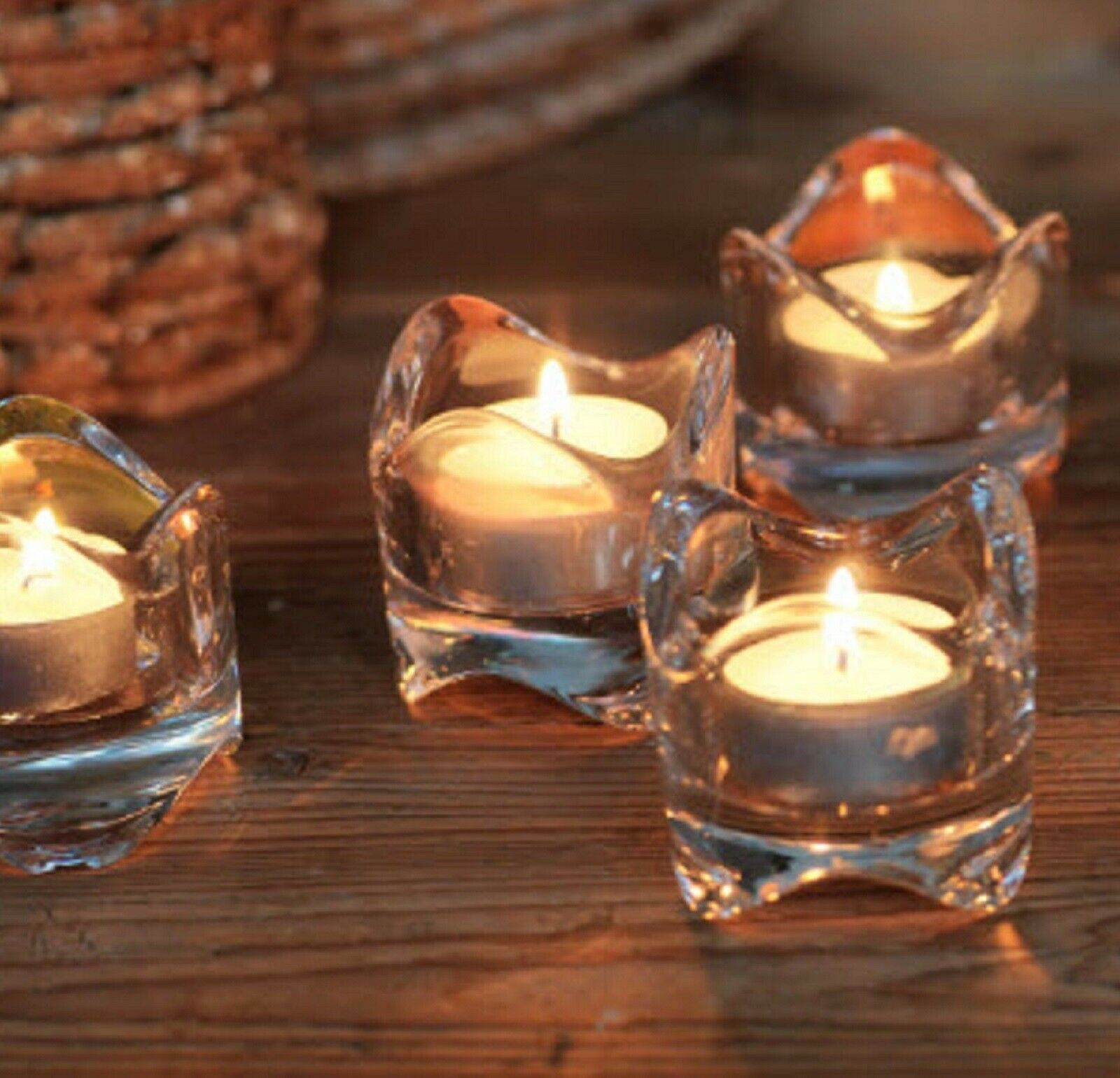 Four IKEA - Art Glass - WAVE Tea Light CANDLE HOLDERS -VÄSN