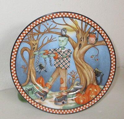 Debbie Mumm 2002 Spooky Town Salad/Dessert Plate Frankenstein out for Stroll](Frankenstein Halloween Desserts)