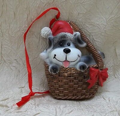 Dog In Basket Resin Christmas Ornament Pet Holiday