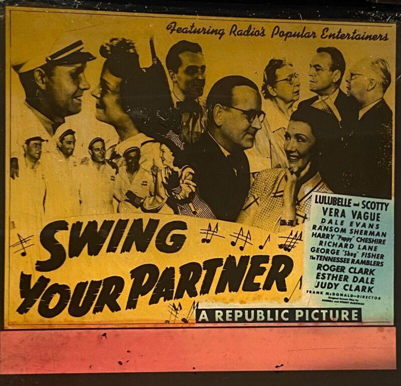 SWING YOUR PARTNER 1943 Film LULUBELLE & SCOTTY WISEMAN Movie Glass Slide RADIO