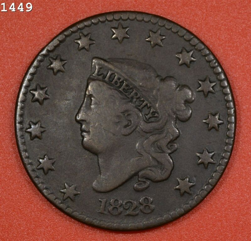 """1828 Coronet Head Large Cent """"F/VF"""" *Free S/H After 1st Item*"""