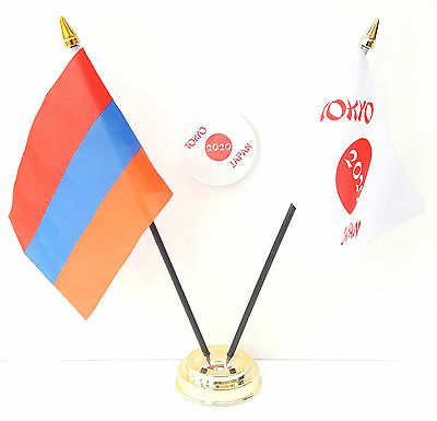 Armenia & Tokyo Japan Olympics 2020 Friendship Desk Flags & 59mm BadgeSet