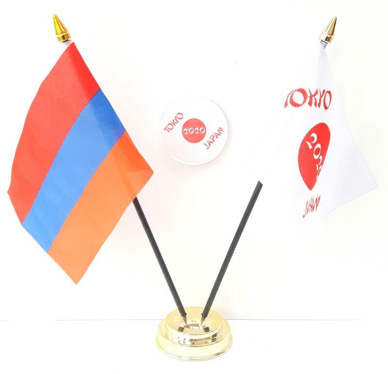 Armenia & Tokyo Japan Olympics 2020 Friendship Desk Flags & 59mm BadgeSet