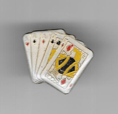 Vintage Aces over Kings Full Boat Poker Hand old enamel pin