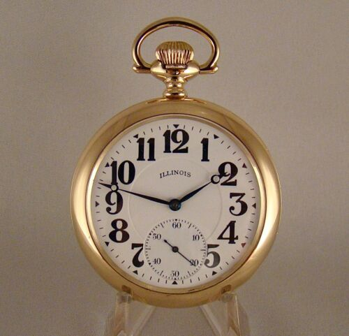 "ILLINOIS ""BUNN"" 17j 14k GOLD FILLED SWING-OUT OPEN FACE 16sRAILROAD POCKET WATCH"