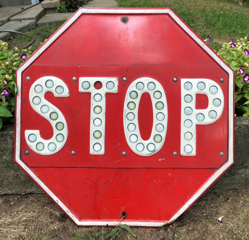 "Vintage 24"" Porcelain Stop Sign With Button Reflectors Street Sign Gas & oil"