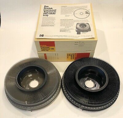 Kodak Carousel Transvue 140 Slide Trays Lot of 2 Excellent w/ Original Boxes Kodak Carousel Slide Trays