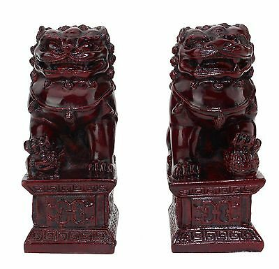 """Feng Shui 4"""" Red Fu Foo Dog Guardian Lions Wealth Protection Statue US Seller"""