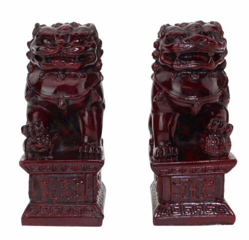 """Feng Shui 4"""" Red Fu Foo Dogs Pair Guardian Lions Wealth Resin Statue US Seller"""