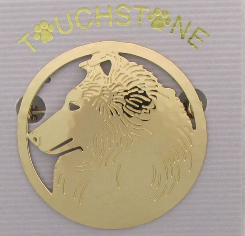Shetland Sheepdog Jewelry Gold Locking Back Pin by Touchstone