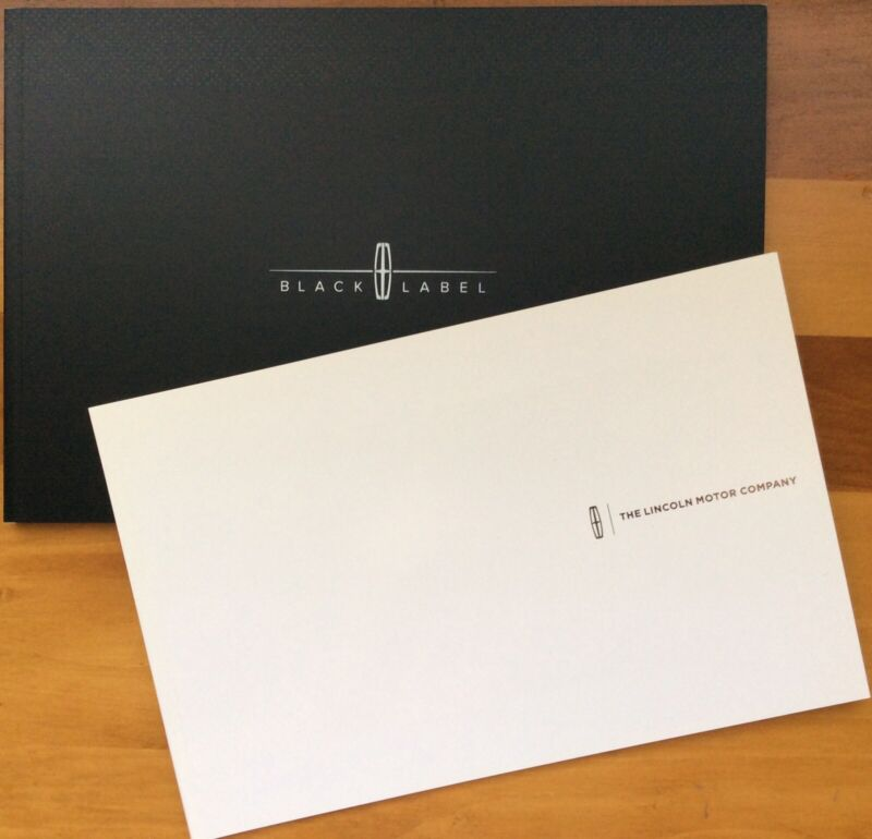 """2016 Lincoln Motor Car Brochures (2), One Black Label, One """"White"""" Label"""