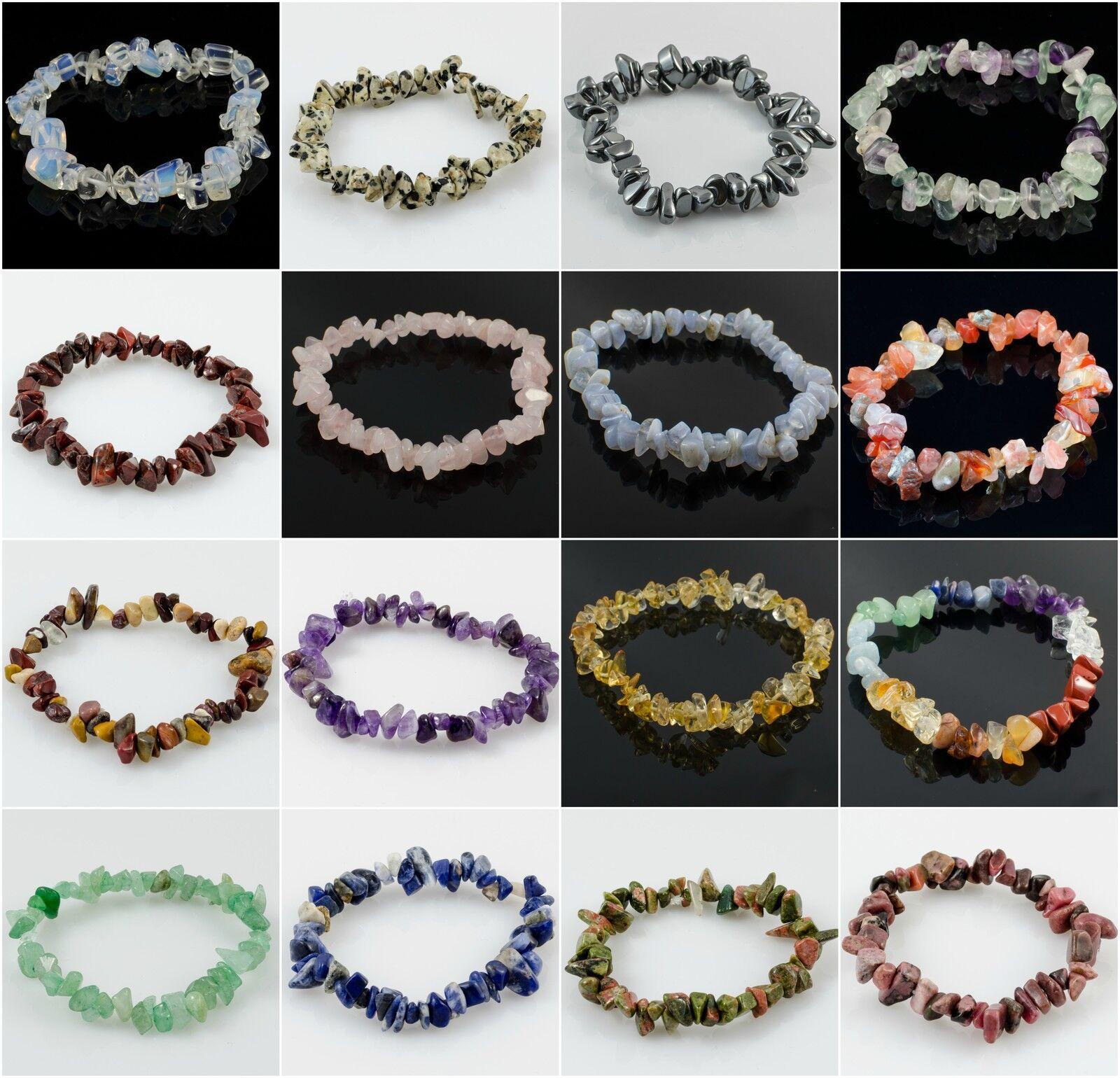 Jewellery - Crystal Chip Gemstone Bead Bracelet New Age Healing Chakra Reiki Jewellery Gift
